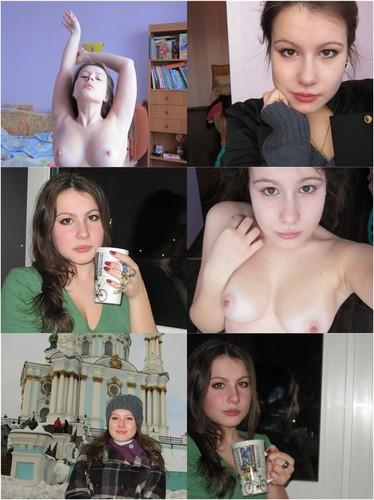 Busty Pale Russian Girl Posing Nude